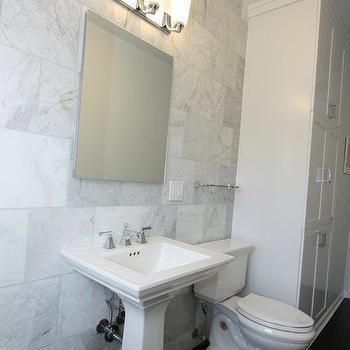Honed Carrera Marble Countertops Transitional Bathroom