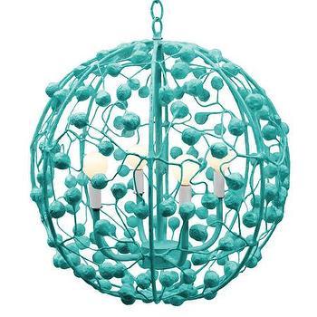 Lighting - Celeste Sphere I Stray Dog Designs - turquoise sphere pendant, modern turquoise pendant, turquoise papier mache pendant,
