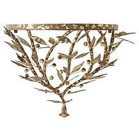 Decor/Accessories - Large Leafy Console I Stray Dog Designs - gold leafed shelf, gold leafed branch shelf, modern gold branch shelf,
