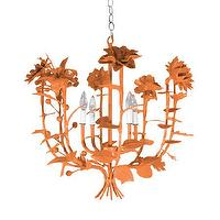 Lighting - Terrell Swan Chandelier I Stray Dog Designs - modern orange chandelier, orange floral chandelier, modern flower chandelier, modern floral chandelier, orange flowers chandelier,