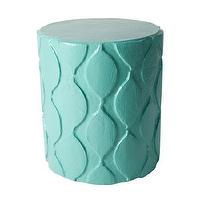 Seating - Aunt Susan Stool I Stray Dog Designs - turquoise blue stool, modern turquoise stool, modern turquoise moroccan patterned stool,