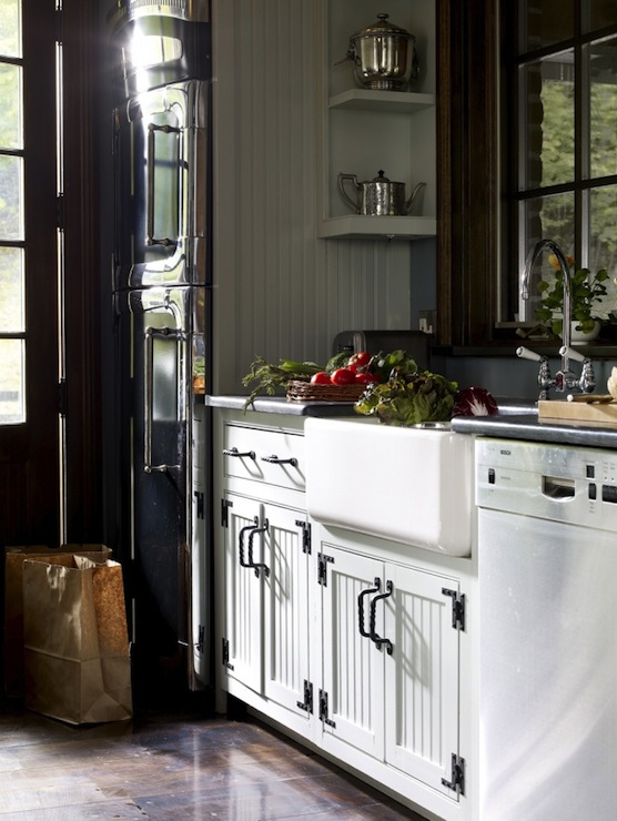 White Beadboard Kitchen Cabinets Country kitchen