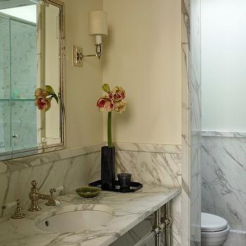 Extra Wide Marble Washstand, Transitional, bathroom, Kathryn Scott Design Studio