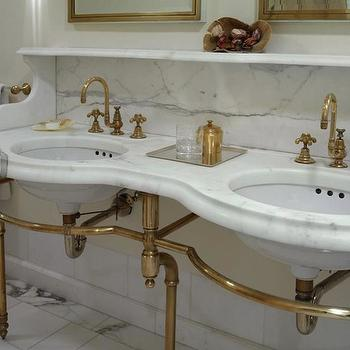 Brass and Marble Washstand, Traditional, bathroom, Kathryn Scott Design Studio
