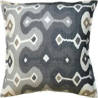 Pillows - Darya Ikat Pillow I Tonic Home - ikat pillow, gray ikat pillow, cream and gray ikat pillow, ikat throw pillow,