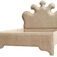 Beds/Headboards - Sarah Burlap Bed I Tonic Home - burlap bed, curvy burlap bed, curvy burlap bed with nailhead trim,