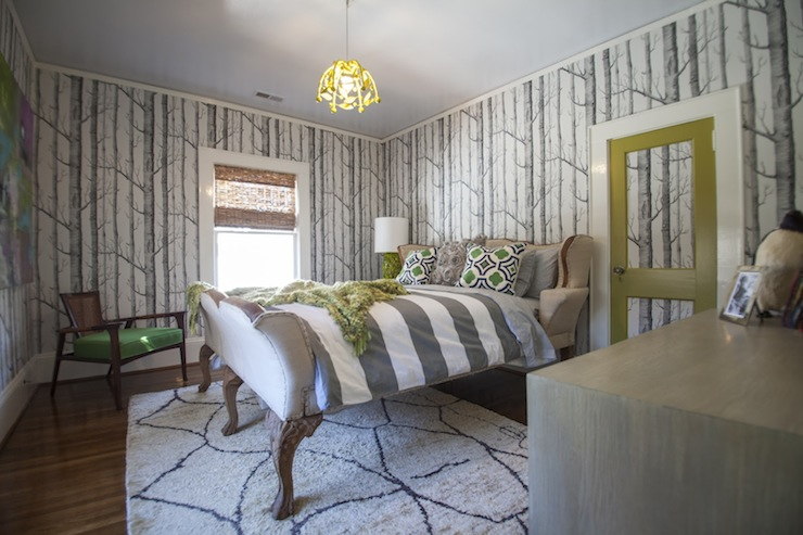 bedrooms woods wallpaper whimsical bedroom gray and green bedroom