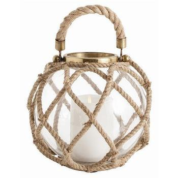 Decor/Accessories - Arteriors Cormac Small Glass/jute/iron Lantern | Shop Candelabra - nautical lantern, rope wrapped lantern candle holder, , beachy candle holder,