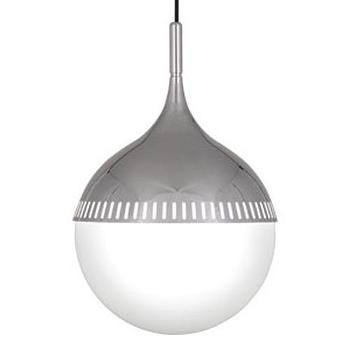 Lighting - Robert Abbey Jonathan Adler Rio Pendant In Polished Nickel | Shop Candelabra - modern polished nickel pendant, polished nickel and white glass pendant, white glass and polished nickel spherical pendant,