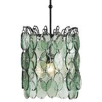 Lighting - Currey And Company Airlie Pendant | Shop Candelabra - recycled glass pendant, green glass pendant, recycled glass disc pendant,