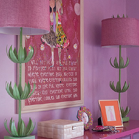 Lucy and Company - girl's rooms - lilac walls, purple walls, lilac wall color, pink dresser, pink mirror fronted dresser, fuchsia pink dresser, fuchsia pink mirror fronted dresser, framed photographs, jewelry box, girls room, girls bedroom, purple girls bedroom, pink and purple girls bedroom, white jewelry box, girly wall art, pink girls room art, pink and green flower lamps, green stemmed flower lamps with pink shade, pink and green flower shaped lamps, Sam Buffet Lamp, mirrored dresser, pink mirrored dresser, Stray Dog Designs Sam Buffet Lamp,