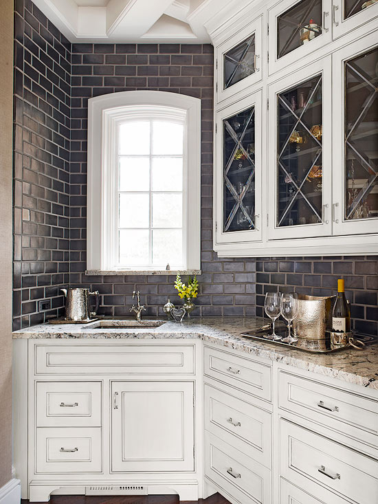 Black subway tile backsplash transitional kitchen bhg Kitchen backsplash ideas bhg