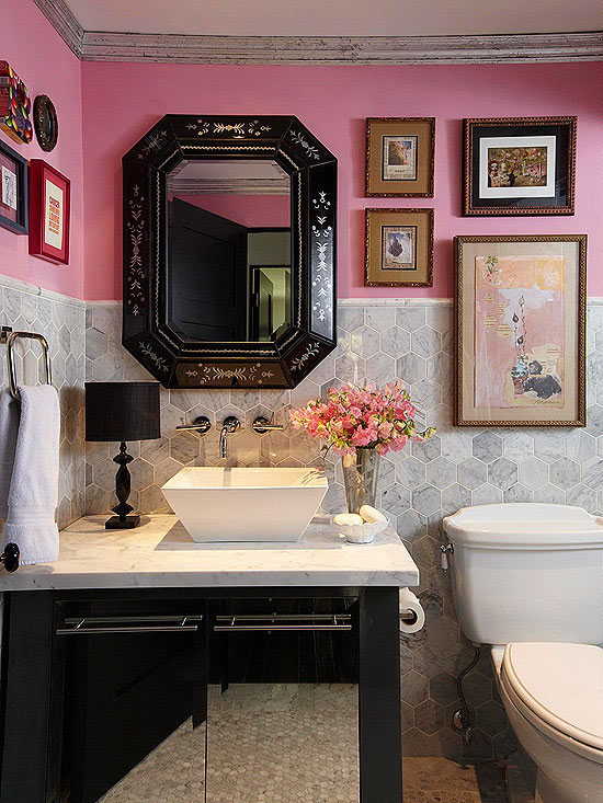 Pink and gray powder room eclectic bathroom bhg for Pink and grey bathroom ideas