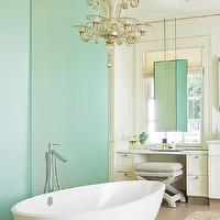 BHG - bathrooms: master bath, master bathroom, floor to ceiling doors, floor to ceiling sliding doors, frosted glass doors, bathroom frosted glass doors, frosted glass bathroom doors, frosted glass doors, frosted glass sliding doors, egg tub, egg bathtub, egg shaped tub, egg shaped bathtub, modern tub filler, floor mount tub filler, built in vanity, marble vanity, marble top vanity, make up vanity, buil tin make up vanity, cream vanity, cream bathroom vanity, cream cabinets, cream bathroom cabinets, vanity ottoman, vanity bench, nailhead ottoman, nailhead bench, hanging mirror, hanging bathroom mirrors, vanity in front of mirror, roman shade,