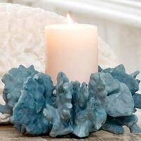 Decor/Accessories - Blue Coral Pillar Candle Holder I Clayton Gray Home - coral candle holder, blue coral candle holder, coral pillar candle holder,