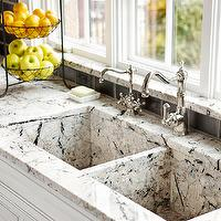 BHG - kitchens - antique cabinets, antique white cabinets, antique white kitchen cabinets, granite counters, granite countertops, black subway tile, black subway tile backsplash, dual sinks, dual kitchen sinks, granite sink, granite kitchen sink, bank of windows, dual faucets, dual kitchen faucets,