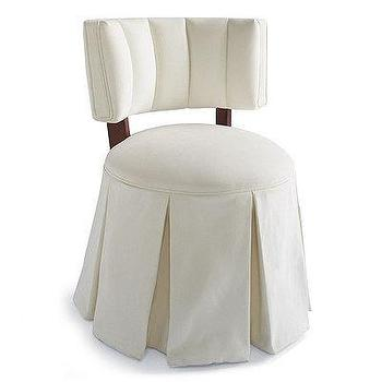 Seating - Joanna Vanity Stool I Frontgate - vanity stool, pleated skirt vanity stool, tufted barrel back vanity stool,