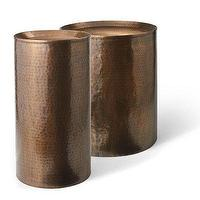 Seating - Hammered Drum Table I Grandin Road - hammered brass drum table, hammered brass side table, antique hammered drum table,