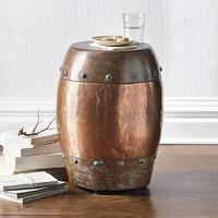 Tables - Riveted Drum Table I Grandin Road - copper drum table, riveted drum table, riveted copper drum table,