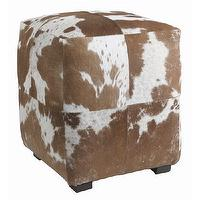 Seating - Hugo Hide Ottoman I Tonic Home - hide ottoman, brown and white hide ottoman, cowhide ottoman,