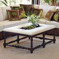 Tables - Jacoby Ottoman I Frontgate - ottoman with leather topped, leather topped turned wood ottoman, colonial style ottoman,