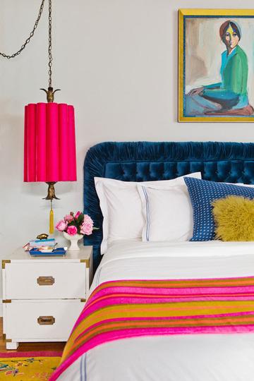 Blue Velvet Tufted Headboard Eclectic Bedroom Emily