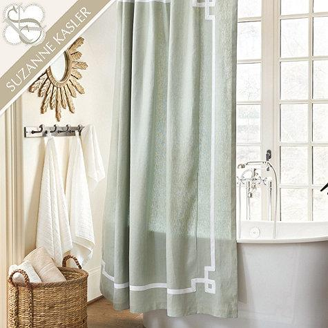 suzanne kasler greek key shower curtain ballard designs ballard designs burlap curtains swagged in front of open
