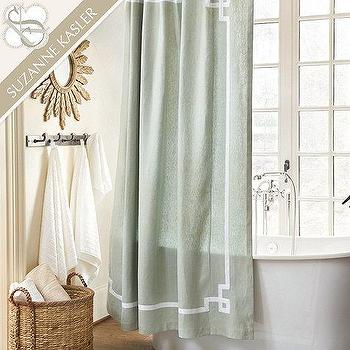 Bath - Suzanne Kasler Greek Key Shower Curtain | Ballard Designs - greek key shower curtain, linen shower curtain, greek key linen shower curtain,