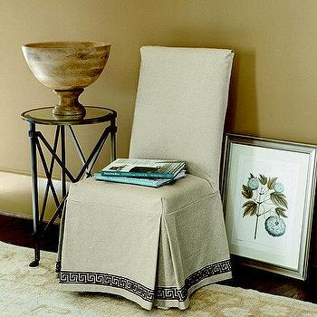 Seating - Parsons Slipcover Greek Key | Ballard Designs - greek key parsons chair slipcover, greek key bordered parsons slipcover, parsons chair slipcover with greek key trim,
