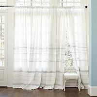 Window Treatments - Madeline Striped Linen Panel | Ballard Designs - white linen striped curtains, white linen striped drapes, white panels with gray stripes,