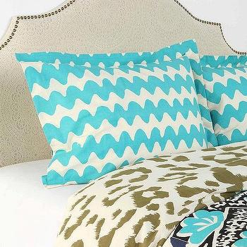 Bedding - Magical Thinking Leopard Patchwork Sham - Set Of 2 I Urban Outfitters - blue wave patterned pillow sham, turquoise blue and cream pillow sham, wave patterned turquoise pillow sham,