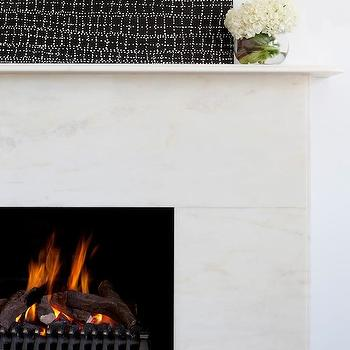 Camilla Molders Design - living rooms - sleek fireplace, marble fireplace, modern fireplace, marble fireplace mantel, marble fireplace mantle, abstract art, fireplace art, black and white art, black and white canvas art, black and white abstract art,