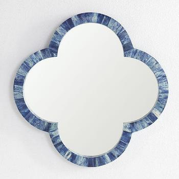 Mirrors - Clover Bone Mirror - Indigo | Wisteria - blue inlaid bone mirror, clover shaped inlaid bone mirror, blue clover bone inlay mirror,