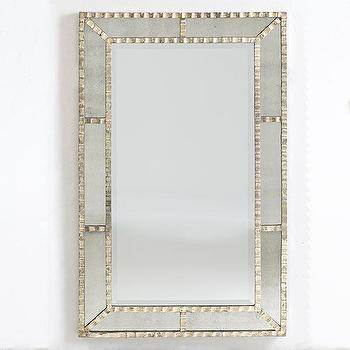 Mirrors - Ribbon Panel Mirror | Wisteria - silver mirror, ribbon panel mirror, silver framed mirror with ribbon edge,