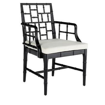 Chinese Chippendale Chair, Obsidian Black, Wisteria