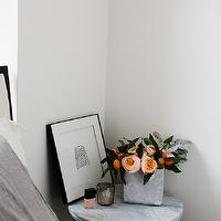 bedrooms - sailor tee print, faux concrete planter, box planter, faux concrete box planter, marble top table, marble accent table, marble bedside table, marble nightstand, marble top nightstand, Sailor Tee,