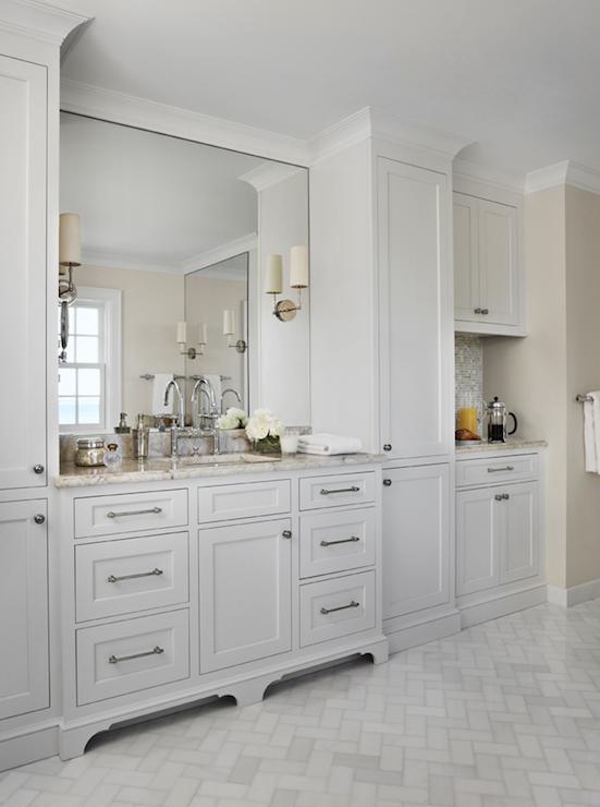 Marble Herringbone Floor Traditional Bathroom