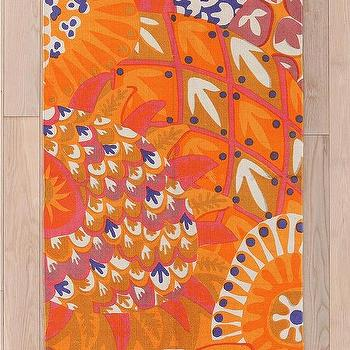 Rugs - Magical Thinking Punch Rug I Urban Outfitters - bright orange rug, orange patterned rug, floral orange rug,