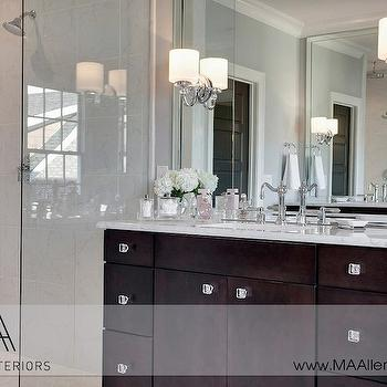 MA Allen Interiors - bathrooms - contemporary master bath, contemporary master bathroom, glass shower, shower partition, glass partition, glass shower partition, square mirror, square vanity mirror, vanity mirror, bathroom vanity mirror, washstand mirror, bathroom washstand mirror, frameless cabinets, frameless bathroom cabinets, espresso cabinets, espresso bathroom cabinets, frameless espresso cabinets, marble countertops, vintage faucet, vintage bathroom faucet, vintage style bathroom faucet, square beveled mirror, beveled square mirror, sconces mounted on mirror, sconces on mirror, polished nickel sconces,
