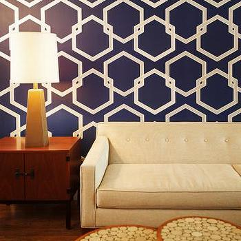 Wallpaper - Honeycomb Tempaper Wallpaper | HomeDecorators.com - geometric wallpaper, navy blue and white geometric wallpaper, temporary geometric wallpaper, removable geometric wallpaper, temporary geometric wallpaper,