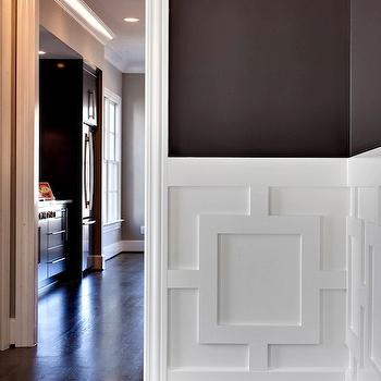 MA Allen Interiors - dining rooms: dining room, dark chocolate walls, chocolate brown walls, dark chocolate brown walls, chocolate brown dining room walls, dark chocolate brown dining room walls, geometric wall panels, geometric panels, geometric wall paneling,