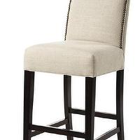 Seating - Custom Straight-Back Counter Stool | HomeDecorators.com - linen counter stool, linen counter stool with nailhead trim, linen upholstered counter stool with nailhead trim,