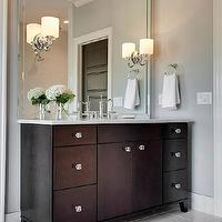 MA Allen Interiors - bathrooms: contemporary master bath, contemporary master bathroom, square mirror, square vanity mirror, vanity mirror, bathroom vanity mirror, washstand mirror, bathroom washstand mirror, frameless cabinets, frameless bathroom cabinets, espresso cabinets, espresso bathroom cabinets, frameless espresso cabinets, marble countertops, vintage faucet, vintage bathroom faucet, vintage style bathroom faucet, square beveled mirror, beveled square mirror, sconces mounted on mirror, sconces on mirror, polished nickel sconces, gray walls, crown molding, bathroom crown molding, marble floor, marble tile floor,