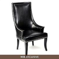 Seating - Black Faux Leather Chatham Chair | Kirkland's - black faux leather chair, black faux leather chair with nailhead trim, shiny black chair with nailhead trim,
