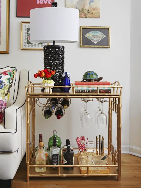 gold bamboo bar cart eclectic living room society social. Black Bedroom Furniture Sets. Home Design Ideas