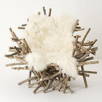 Seating - Branches & Fur Chair I Anthropologie.com - branch and fur chair, chair made of branches, unique branch chair, nest chair,