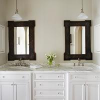 Molly Quinn Design - bathrooms - double vanity, double bathroom vanity, master bathroom, his and hers sinks, white vanity, white double vanity, marble counters, marble countertops, black and gold vanity mirror, chinoisserie style mirrors, chinoisserie vanity mirrors, recessed medicine cabinets, white medicine cabinets, furniture style bathroom vanity, undermount sinks, satin nickel faucets, oatmeal wall color, hardwood floors, dark hardwood floors, hardwood floors in bathroom, ceiling mount pendants, ceiling hung bathroom pendants, glass knobs, glass hardware, white vanity with marble tops, white bathroom vanity with marble countertops, double vanity with marble countertops,