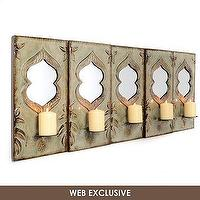 Art/Wall Decor - Five Class Candle Holder Wall Plaque | Kirkland's - mirrored candle holder, mirrored wall plaque candle holder, mirror and metal wall candle holder,