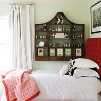Matchbook Magazine - girl's rooms - eclectic girls room, eclectic girls bedroom, girls room, girls bedroom, watery green walls, wall curio, curio cabinet, wall curio cabinet, floor to ceiling curtains, white curtains, white drapes, white window panels, vintage curio cabinet, blood red headboard, red tufted headboard, red velvet headboard, red velvet tufted headboard, girls bedding, girls duvet, girls sham, scalloped bed skirt, scalloped bedskirt, white and red bed skirt, white and red bedskirt, white and red scalloped bed skirt, red blanket, girls blanket, colorful rug,