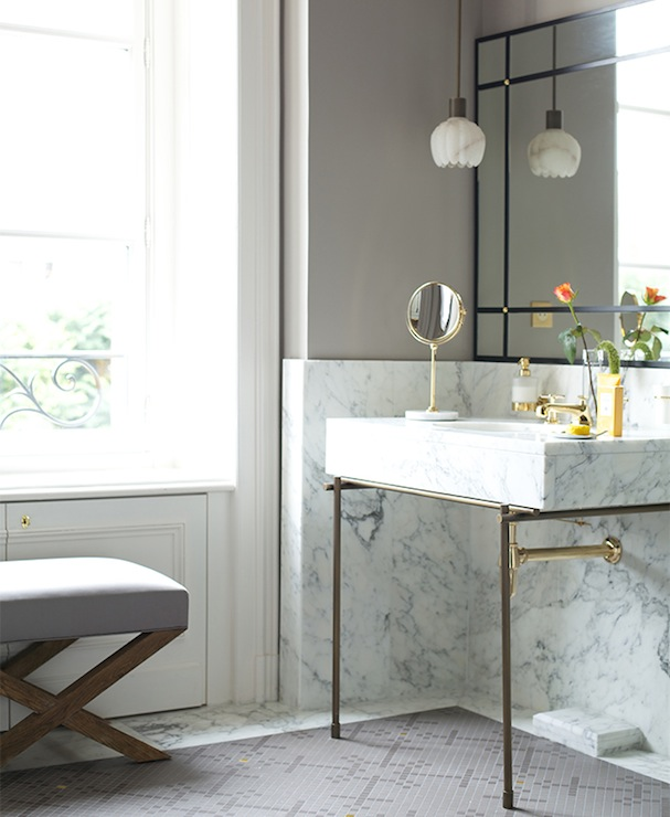 Marble And Brass Washstand Contemporary Bathroom